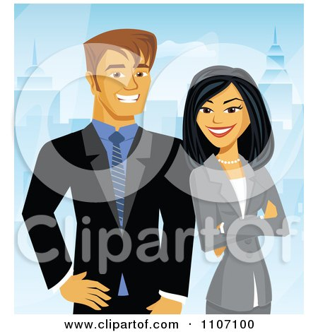 Clipart Happy Business Couple Posing With A City Background - Royalty Free Vector Illustration by Amanda Kate