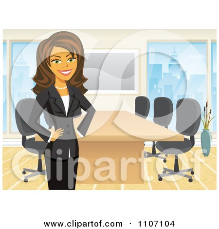 Clipart Happy Brunette Businesswoman Standing By A Meeting Table In An Office - Royalty Free Vector Illustration by Amanda Kate