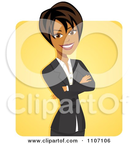 Clipart Happy Black Businesswoman With Folded Arms Over Yellow - Royalty Free Vector Illustration by Amanda Kate