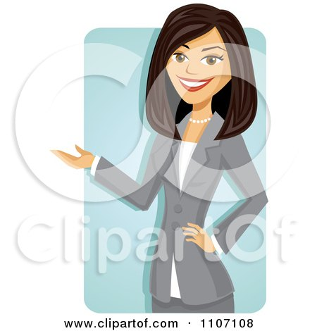 Clipart Happy Brunette Businesswoman In A Gray Suit Presenting Over A Blue Rectangle - Royalty Free Vector Illustration by Amanda Kate