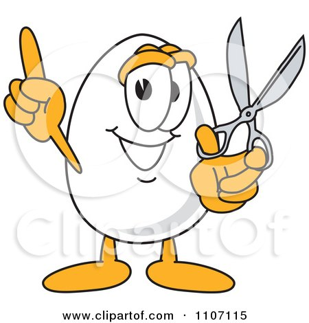 Clipart Egg Mascot Character Holding Scissors - Royalty Free Vector Illustration by Toons4Biz