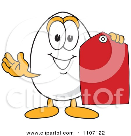 Clipart Egg Mascot Character Holding A Sales Tag - Royalty Free Vector Illustration by Toons4Biz