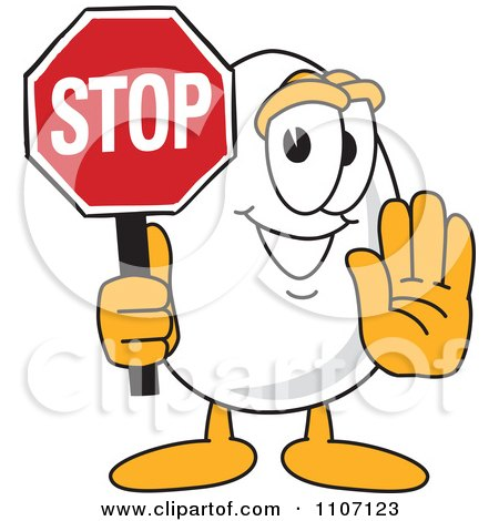 Clipart Egg Mascot Character Stop Sign - Royalty Free Vector Illustration by Toons4Biz