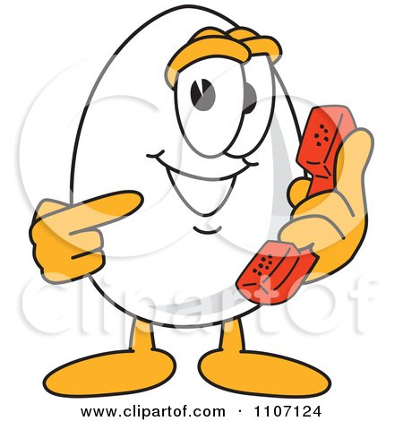 Clipart Egg Mascot Character Holding And Pointing To A Phone - Royalty Free Vector Illustration by Toons4Biz