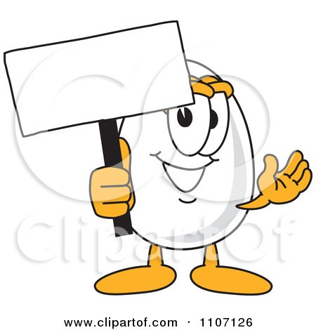 Clipart Egg Mascot Character Holding A Sign - Royalty Free Vector Illustration by Toons4Biz