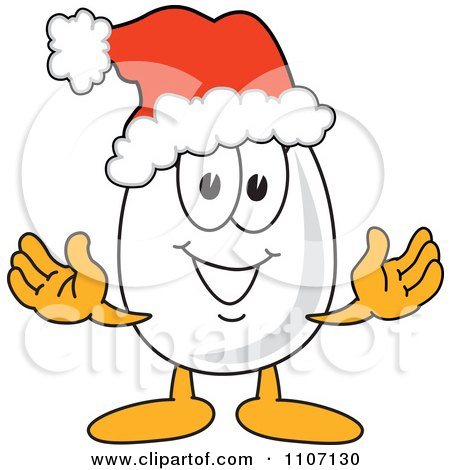 Clipart Egg Mascot Character Wearing A Christmas Santa Hat - Royalty Free Vector Illustration by Toons4Biz