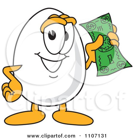 Clipart Egg Mascot Character Holding A Dollar Bill - Royalty Free Vector Illustration by Toons4Biz
