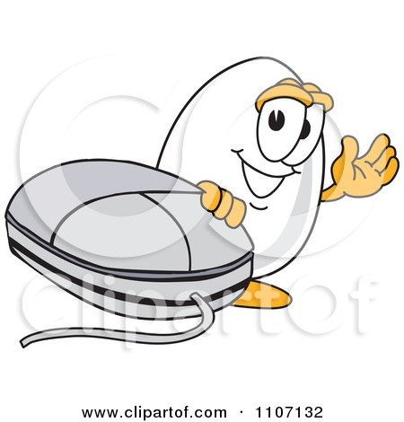 Clipart Egg Mascot Character Waving By A Computer Mouse - Royalty Free Vector Illustration by Toons4Biz