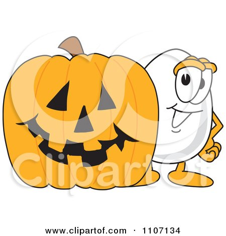 Clipart Egg Mascot Character With A Halloween Pumpkin - Royalty Free Vector Illustration by Toons4Biz