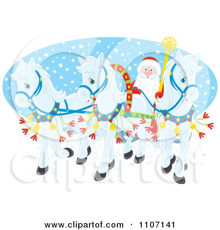 Clipart Three White Christmas Ponies Pulling Santas Christmas Sleigh Over An Oval Of Snow - Royalty Free Vector Illustration by Alex Bannykh
