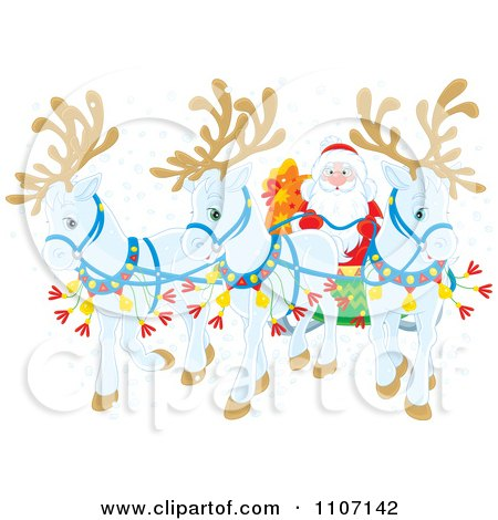 Clipart Three White Christmas Reindeer Pulling Santas Christmas Sleigh In The Snow - Royalty Free Vector Illustration by Alex Bannykh