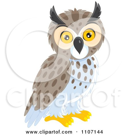 Clipart Cute Owl - Royalty Free Vector Illustration by Alex Bannykh