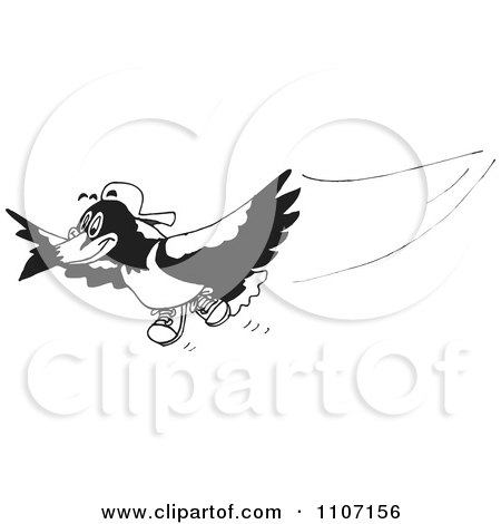 Clipart Black And White Magpie Bird Flying 1 - Royalty Free Vector Illustration by Dennis Holmes Designs