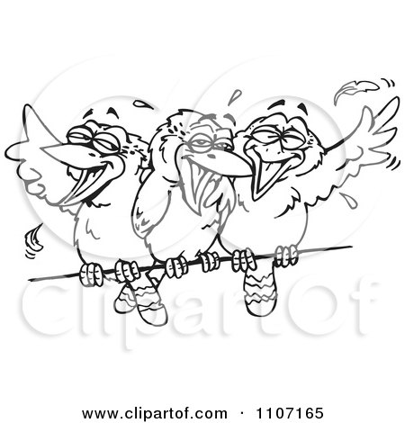 Clipart Three Black And White Kookaburra Birds Laughing On A Wire - Royalty Free Vector Illustration by Dennis Holmes Designs