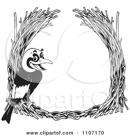 Clipart Black And White Golden Bowerbird With A Straw Frame - Royalty Free Vector Illustration by Dennis Holmes Designs