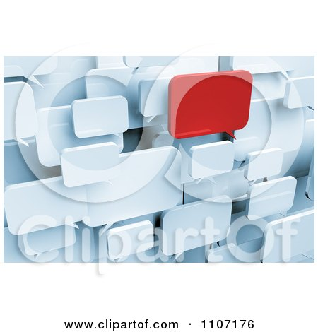Clipart 3d Red Chat Window Standing Out From White Message Balloons - Royalty Free CGI Illustration by stockillustrations