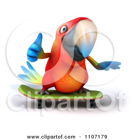 Clipart 3d Macaw Parrot Skateboarding 1 - Royalty Free CGI Illustration by Julos