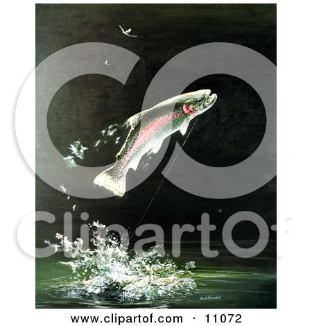 Clipart Illustration of a Rainbow Trout Fish Jumping Out of the Water After Biting a Fishing Hook by JVPD