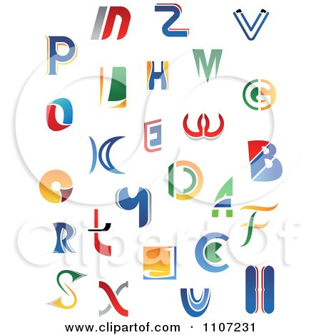 Clipart Abstract Colorful Letters A Through Z 2 - Royalty Free Vector Illustration by Vector Tradition SM