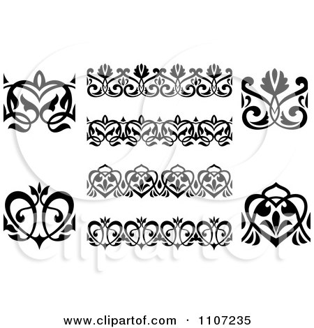 Clipart Black And White Victorian Floral Borders And Design Elements 3 - Royalty Free Vector Illustration by Vector Tradition SM
