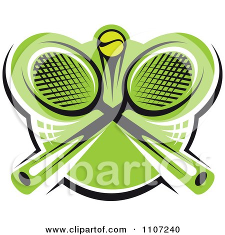 Clipart Green Tennis Ball And Crossed Rackets 2 - Royalty Free Vector Illustration by Vector Tradition SM