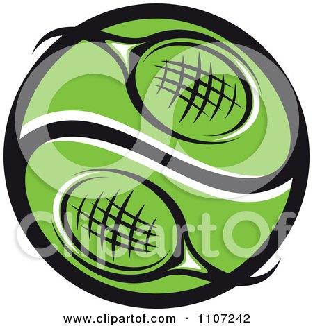 Clipart Green Tennis Racket Yin Yang Ball - Royalty Free Vector Illustration by Vector Tradition SM