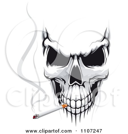 Clipart Evil Skull Smoking A Cigarette - Royalty Free Vector Illustration by Vector Tradition SM