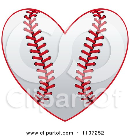 Clipart Baseball Heart With Red Stitches - Royalty Free Vector Illustration by Vector Tradition SM
