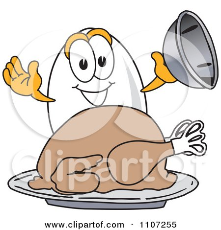 Clipart Egg Mascot Character Serving Roasted Thanksgiving Turkey - Royalty Free Vector Illustration by Toons4Biz