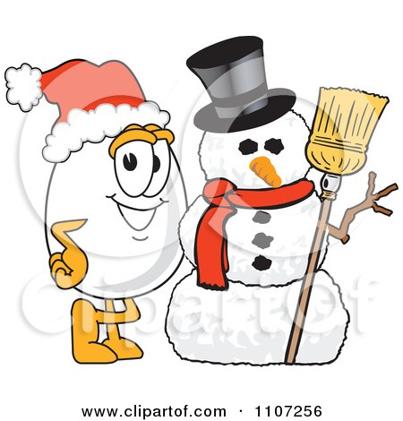 Clipart Egg Mascot Character With A Christmas Snowman And Santa Hat - Royalty Free Vector Illustration by Toons4Biz