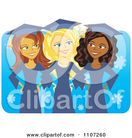 Clipart Three Happy Graduate Women Linking Arms And Smiling Over Blue - Royalty Free Vector Illustration by Amanda Kate