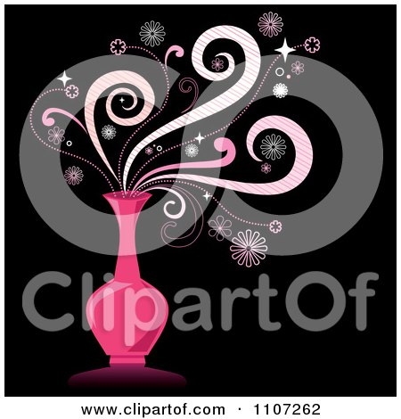 Clipart Magic Swirls Over A Pink Genie Bottle On Black - Royalty Free Vector Illustration by Amanda Kate