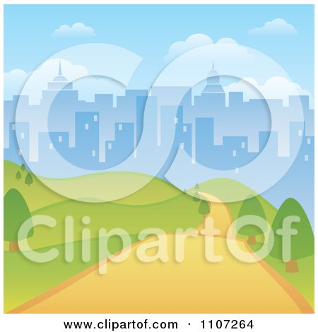 Clipart Path Through A Hilly Park With A City Skyline Background - Royalty Free Vector Illustration by Amanda Kate