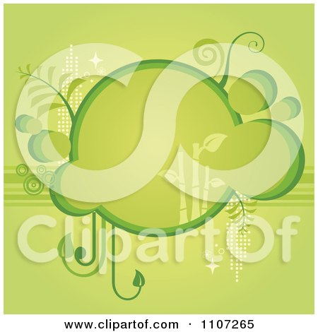 Clipart Green Bubble Bamboo Frame With Foliage - Royalty Free Vector Illustration by Amanda Kate