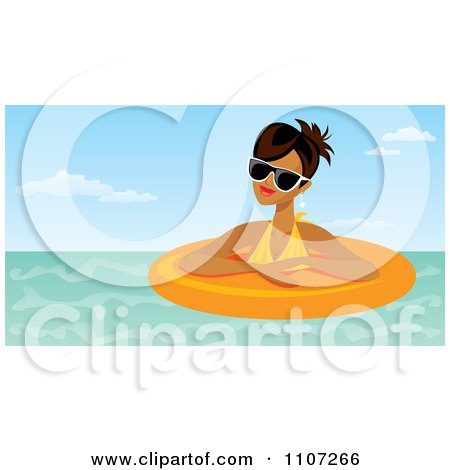 Clipart Relaxed Hispanic Woman Wearing Shades And Floating In An Inner Tube - Royalty Free Vector Illustration by Amanda Kate