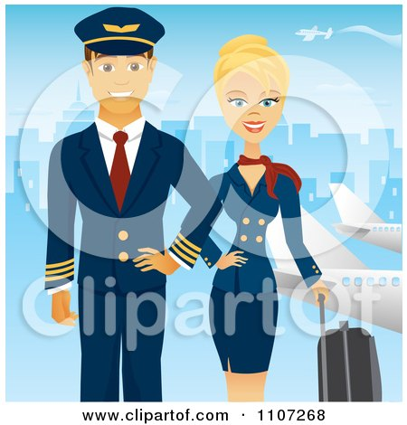 Beautiful Blond Female Flight Attendant Posing With Luggage  And A Pilot Near Planes With A Blue City Posters, Art Prints