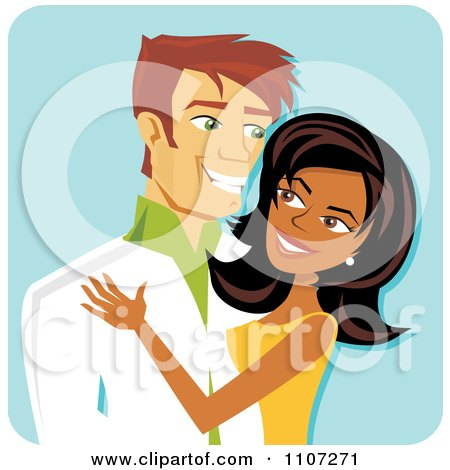 Happy Black Woman And White Man Couple Smiling At Each Other Over Blue Posters, Art Prints
