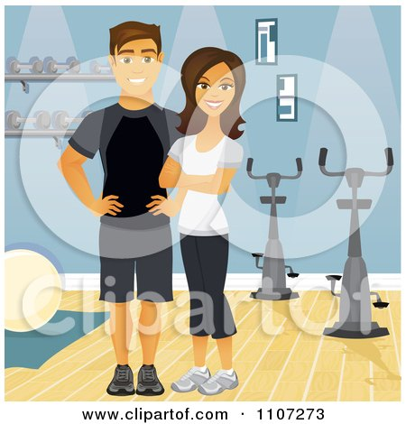 Clipart Happy Fit Couple Or Personal Trainers Near Spin Bikes In A Gym - Royalty Free Vector Illustration by Character Market