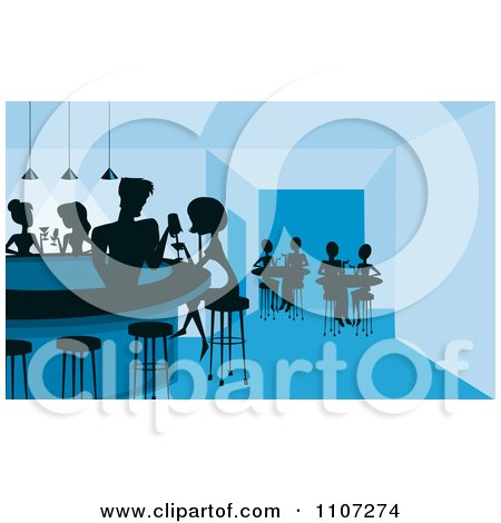 Clipart Silhouetted Flirty Male Bartender Filling A Womans Drink At A Night Club Bar - Royalty Free Vector Illustration by Character Market