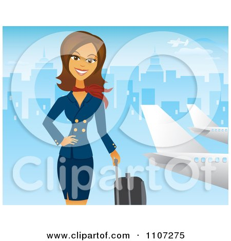 Clipart Beautiful Brunette Female Flight Attendant Posing With Luggage Near A Plane With A Blue City - Royalty Free Vector Illustration by Amanda Kate