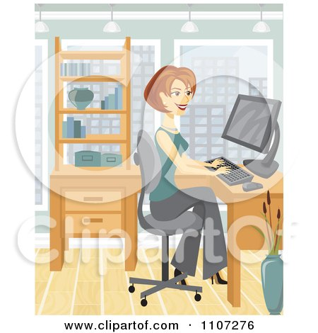 Clipart Happy Businesswoman Working On Her Office Computer - Royalty Free Vector Illustration by Amanda Kate