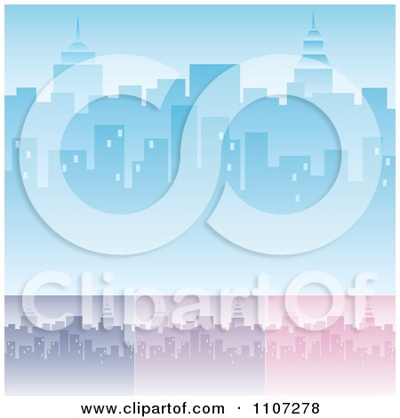 Clipart Blue Purple And Pink City Skyline Backgrounds With Highrises And Skyscrapers - Royalty Free Vector Illustration by Amanda Kate