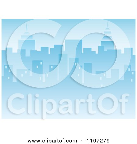Clipart Blue City Skyline Background With Highrises And Skyscrapers - Royalty Free Vector Illustration by Amanda Kate