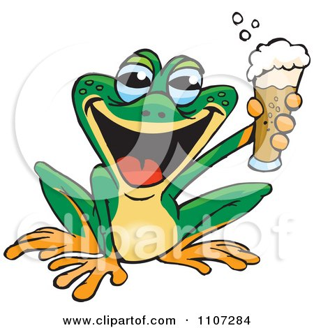 Clipart Happy Green Frog Holding Up A Beer - Royalty Free Vector Illustration by Dennis Holmes Designs