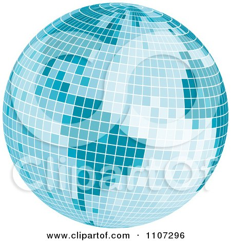 Clipart Blue Mosaic Disco Ball Earth - Royalty Free Vector Illustration by Amanda Kate