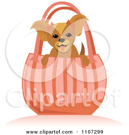 Clipart Happy Toy Dog In A Pink Purse - Royalty Free Vector Illustration by Amanda Kate