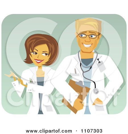 Clipart Happy Male And Female Doctors Talking - Royalty Free Vector Illustration by Amanda Kate