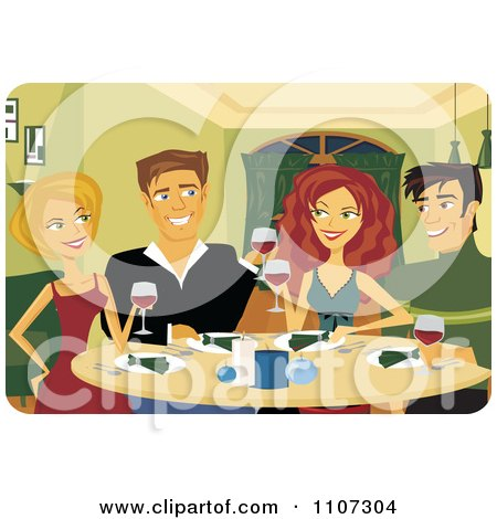 Clipart Happy Couples Toasting With Red Wine At A Dinner Party - Royalty Free Vector Illustration by Amanda Kate