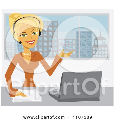 Clipart Happy Businesswoman Assisting A Customer Through A Headset In Her Office - Royalty Free Vector Illustration by Amanda Kate