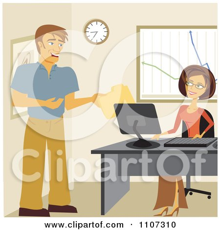 Clipart Happy Coworkers Exchanging Files In An Office - Royalty Free Vector Illustration by Amanda Kate